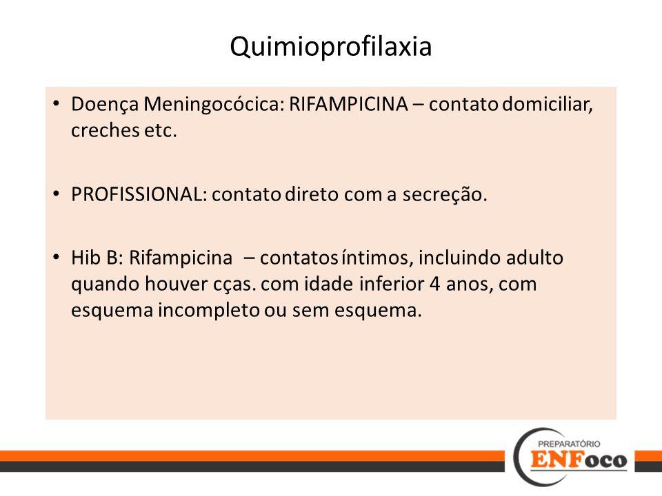 Quimioprofilaxia Doença Meningocócica: RIFAMPICINA – contato domiciliar, creches etc. PROFISSIONAL: contato direto com a secreção.