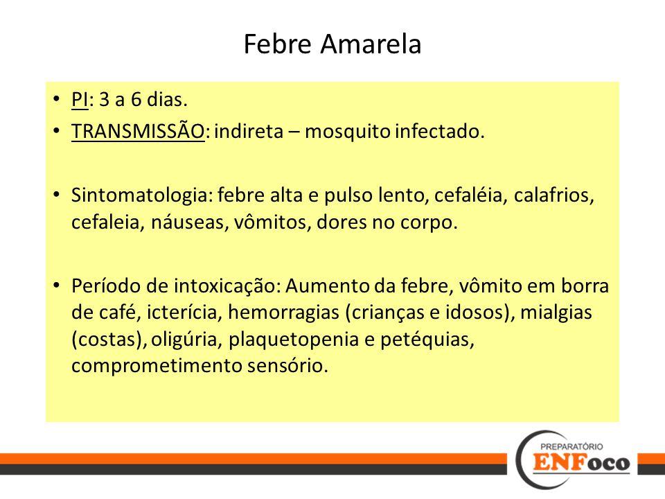 Febre Amarela PI: 3 a 6 dias.