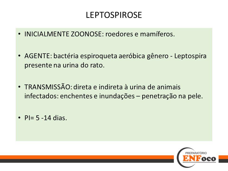 LEPTOSPIROSE INICIALMENTE ZOONOSE: roedores e mamíferos.