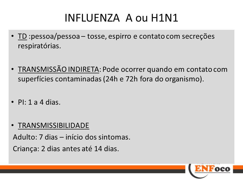 INFLUENZA A ou H1N1 TD :pessoa/pessoa – tosse, espirro e contato com secreções respiratórias.