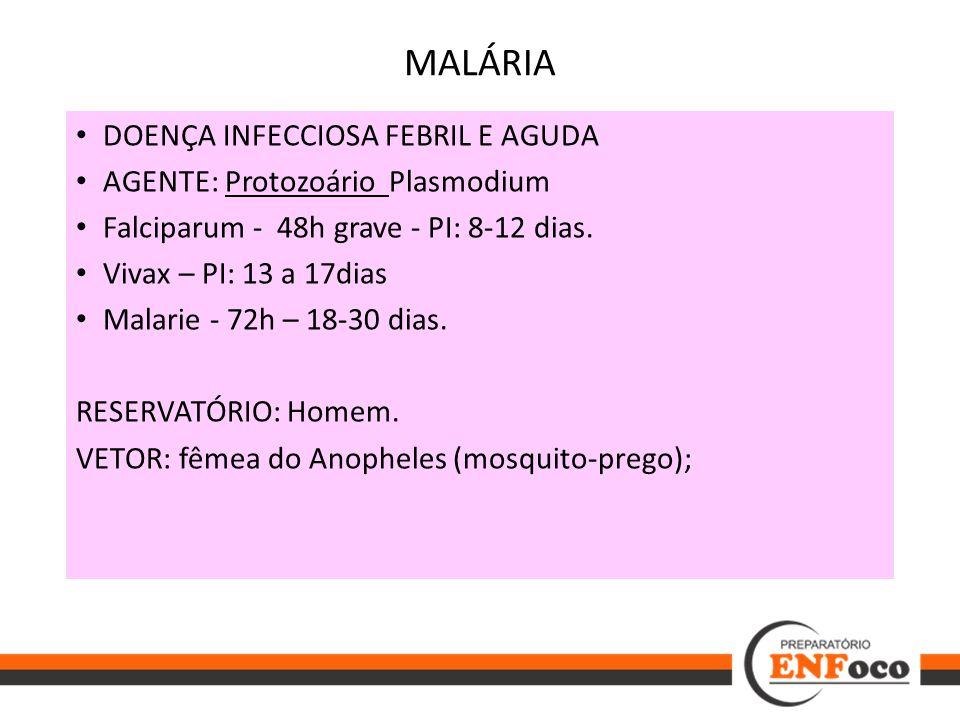 MALÁRIA DOENÇA INFECCIOSA FEBRIL E AGUDA