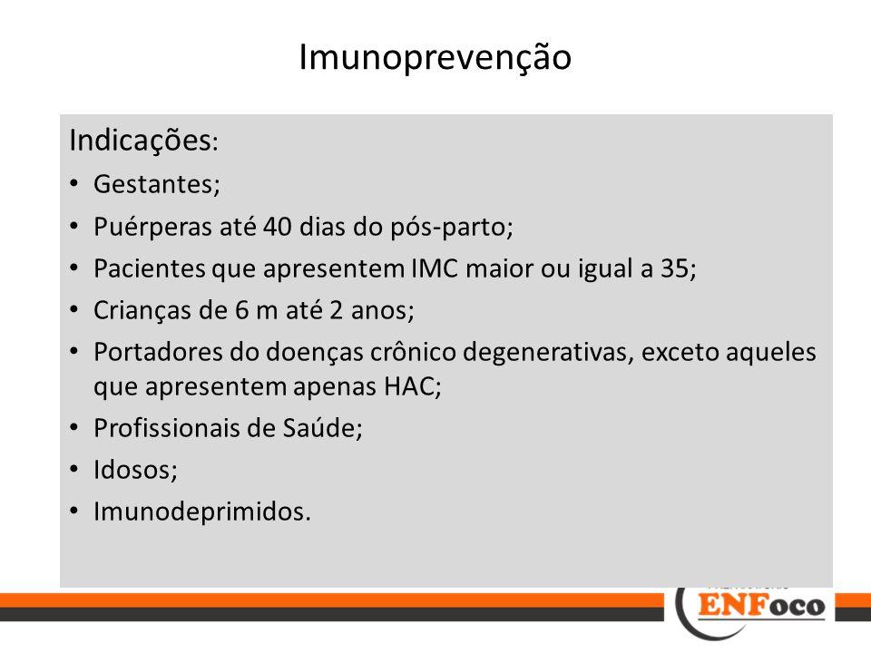 Imunoprevenção Indicações: Gestantes;