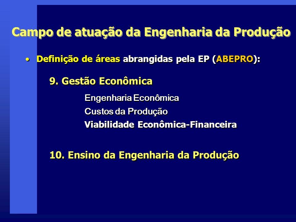 9. Gestão Econômica Campo de atuação da Engenharia da Produção