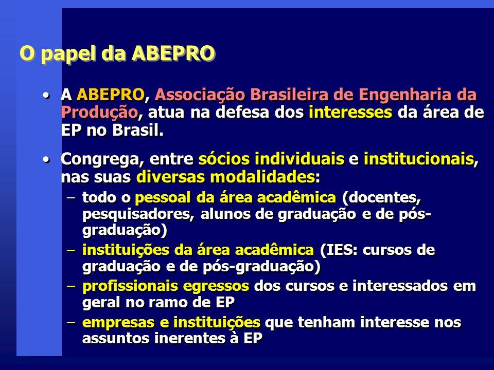 O papel da ABEPRO A ABEPRO, Associação Brasileira de Engenharia da Produção, atua na defesa dos interesses da área de EP no Brasil.