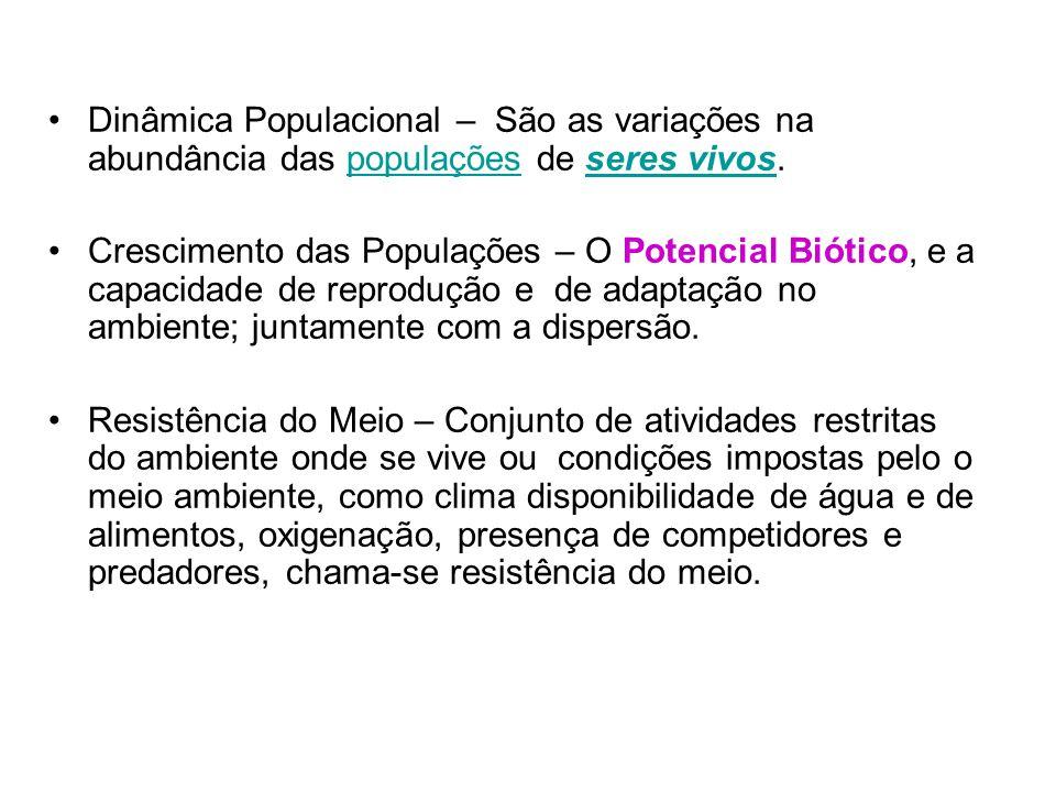 Dinâmica Populacional – São as variações na abundância das populações de seres vivos.