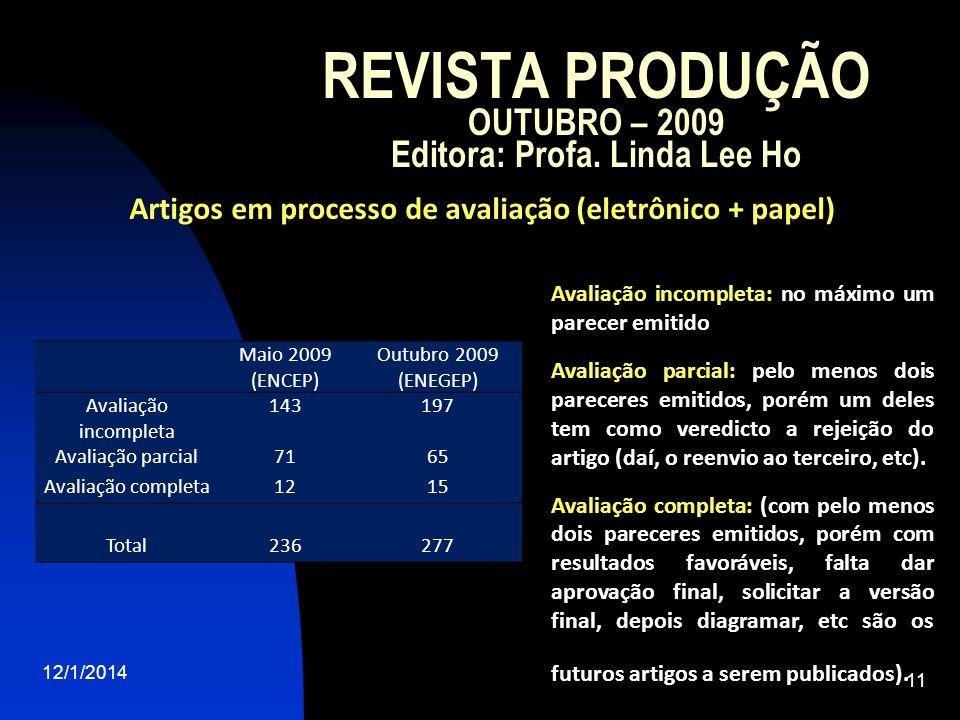 REVISTA PRODUÇÃO OUTUBRO – 2009 Editora: Profa. Linda Lee Ho