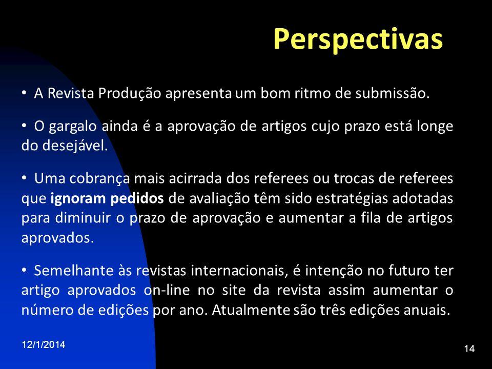 Perspectivas A Revista Produção apresenta um bom ritmo de submissão.