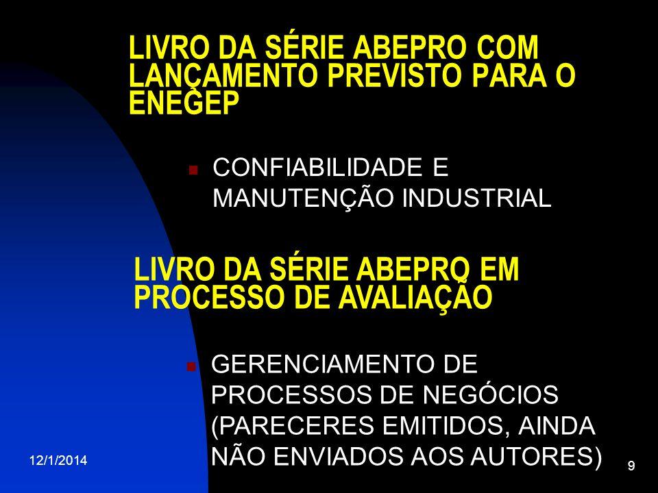 LIVRO DA SÉRIE ABEPRO COM LANÇAMENTO PREVISTO PARA O ENEGEP