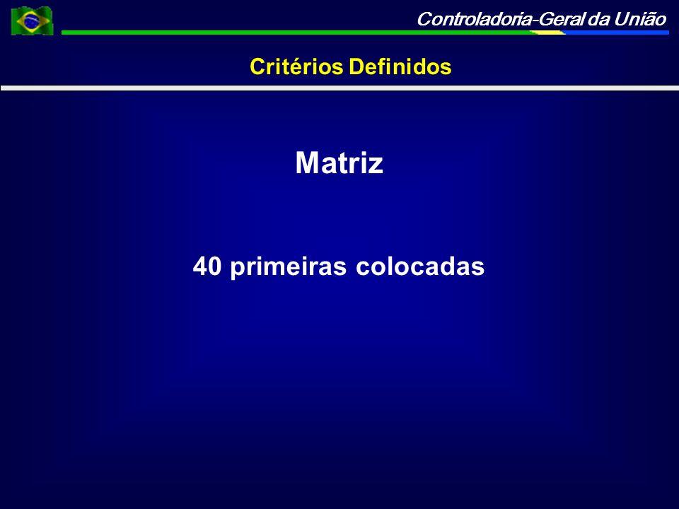 Critérios Definidos Matriz 40 primeiras colocadas