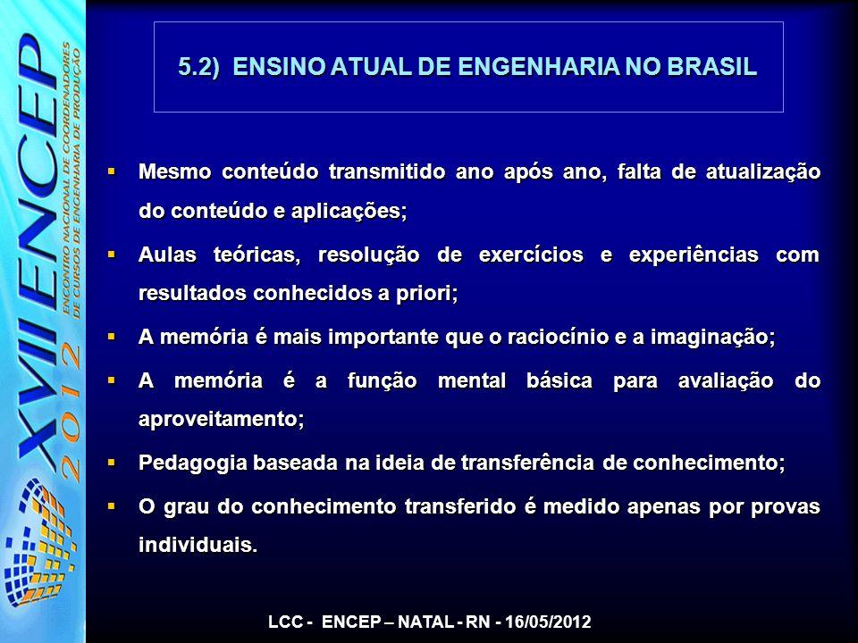 5.2) ENSINO ATUAL DE ENGENHARIA NO BRASIL