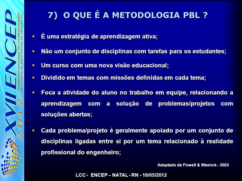 7) O QUE É A METODOLOGIA PBL