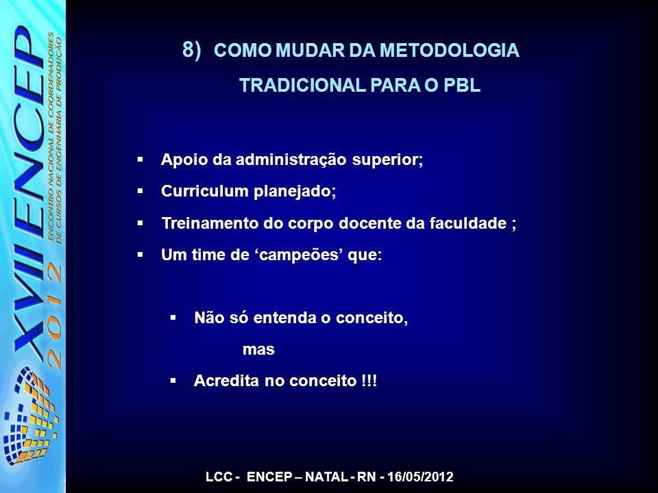 8) COMO MUDAR DA METODOLOGIA TRADICIONAL PARA O PBL