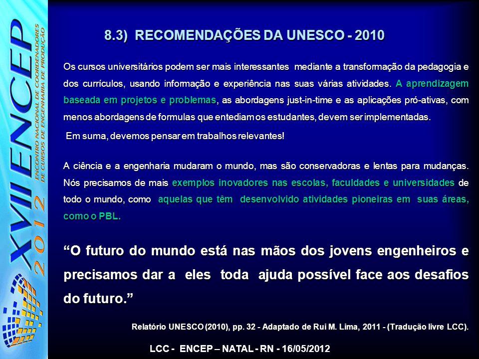 8.3) RECOMENDAÇÕES DA UNESCO - 2010