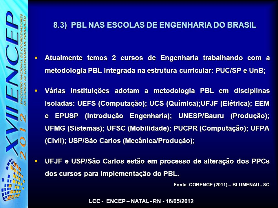 8.3) PBL NAS ESCOLAS DE ENGENHARIA DO BRASIL