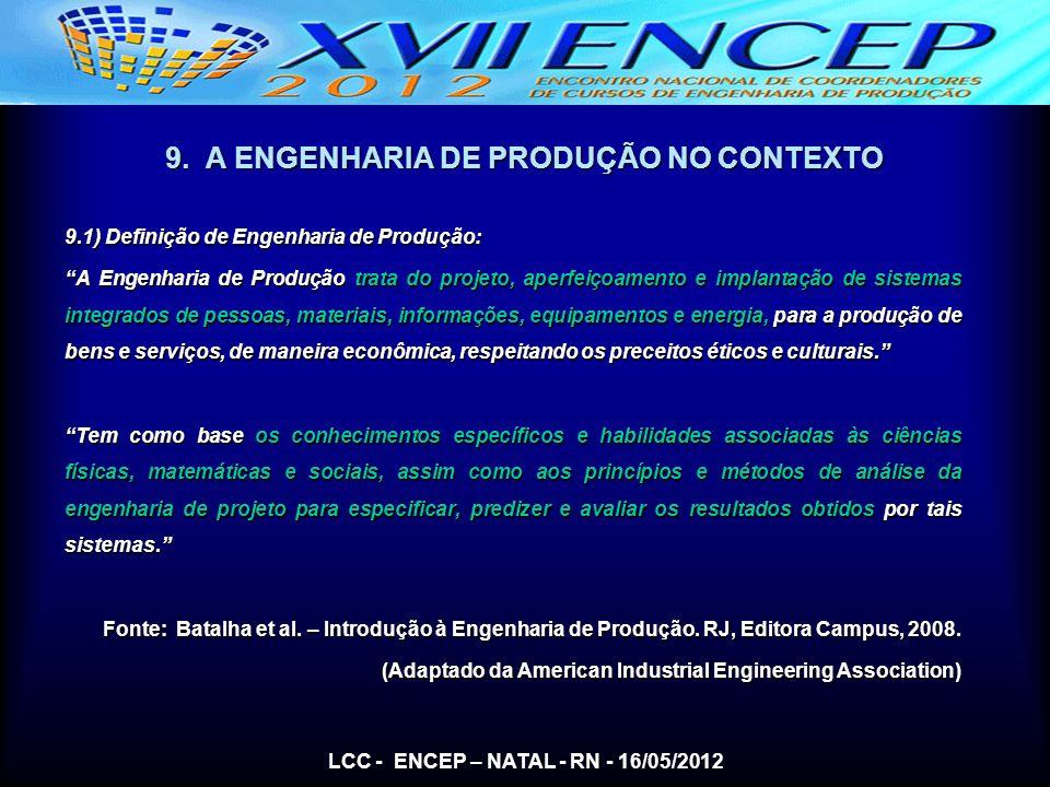 9. A ENGENHARIA DE PRODUÇÃO NO CONTEXTO