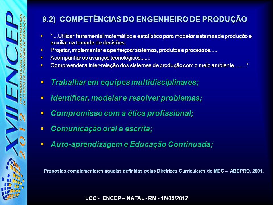 9.2) COMPETÊNCIAS DO ENGENHEIRO DE PRODUÇÃO
