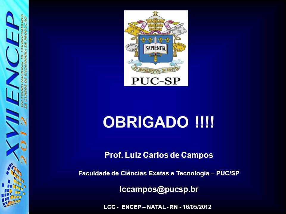 OBRIGADO !!!! Prof. Luiz Carlos de Campos lccampos@pucsp.br