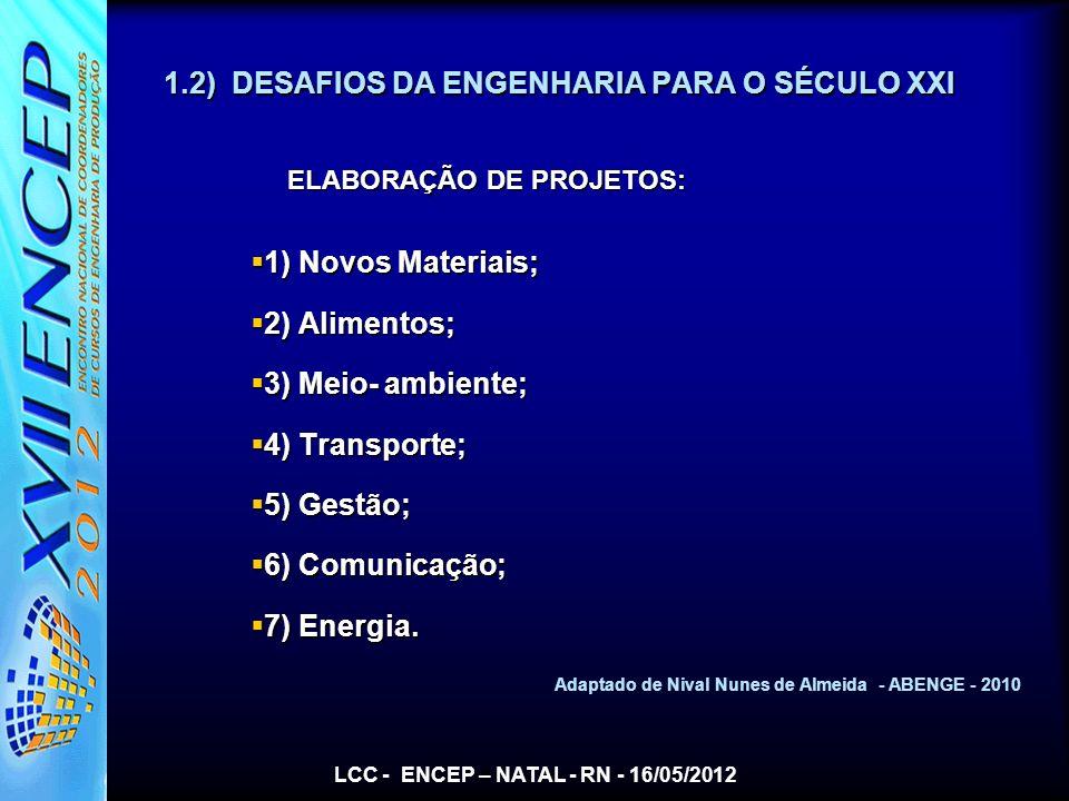 1.2) DESAFIOS DA ENGENHARIA PARA O SÉCULO XXI