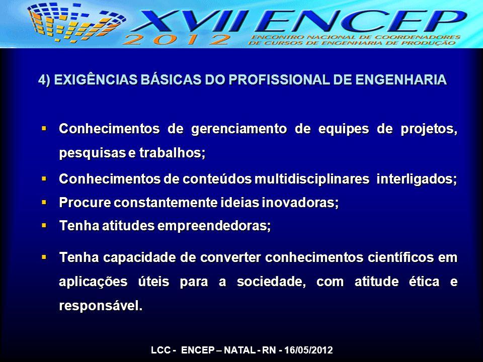 4) EXIGÊNCIAS BÁSICAS DO PROFISSIONAL DE ENGENHARIA