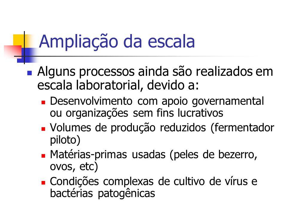 Ampliação da escala Alguns processos ainda são realizados em escala laboratorial, devido a: