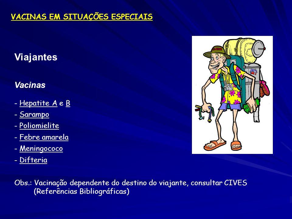Viajantes Vacinas VACINAS EM SITUAÇÕES ESPECIAIS - Hepatite A e B