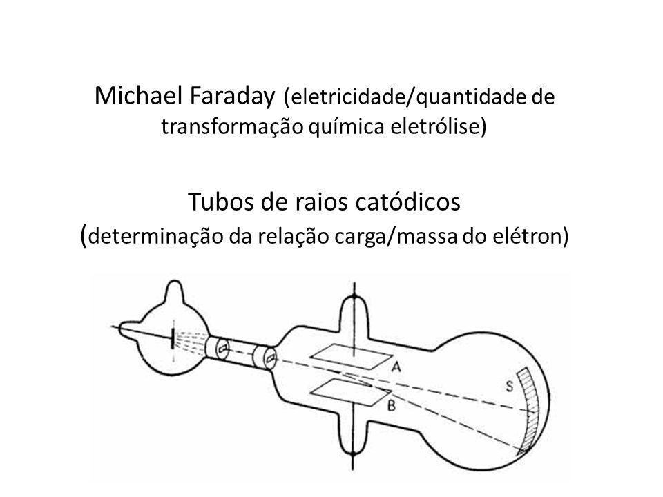 Michael Faraday (eletricidade/quantidade de transformação química eletrólise) Tubos de raios catódicos (determinação da relação carga/massa do elétron)