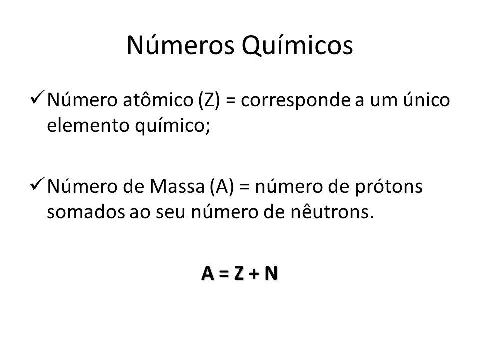 Números Químicos Número atômico (Z) = corresponde a um único elemento químico;