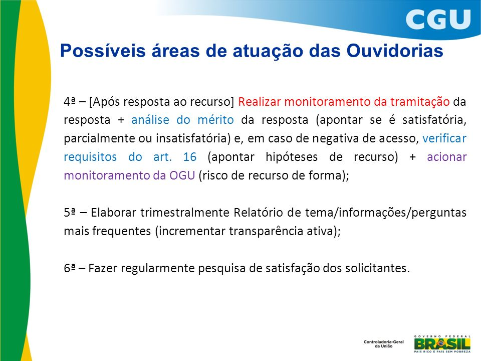 Possíveis áreas de atuação das Ouvidorias