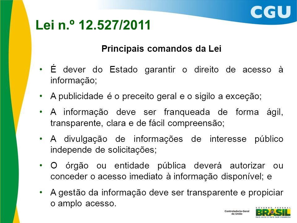 Principais comandos da Lei