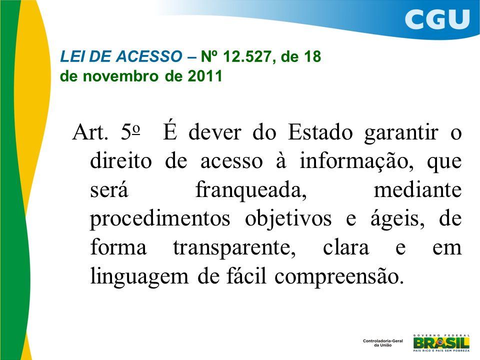 LEI DE ACESSO – Nº 12.527, de 18 de novembro de 2011
