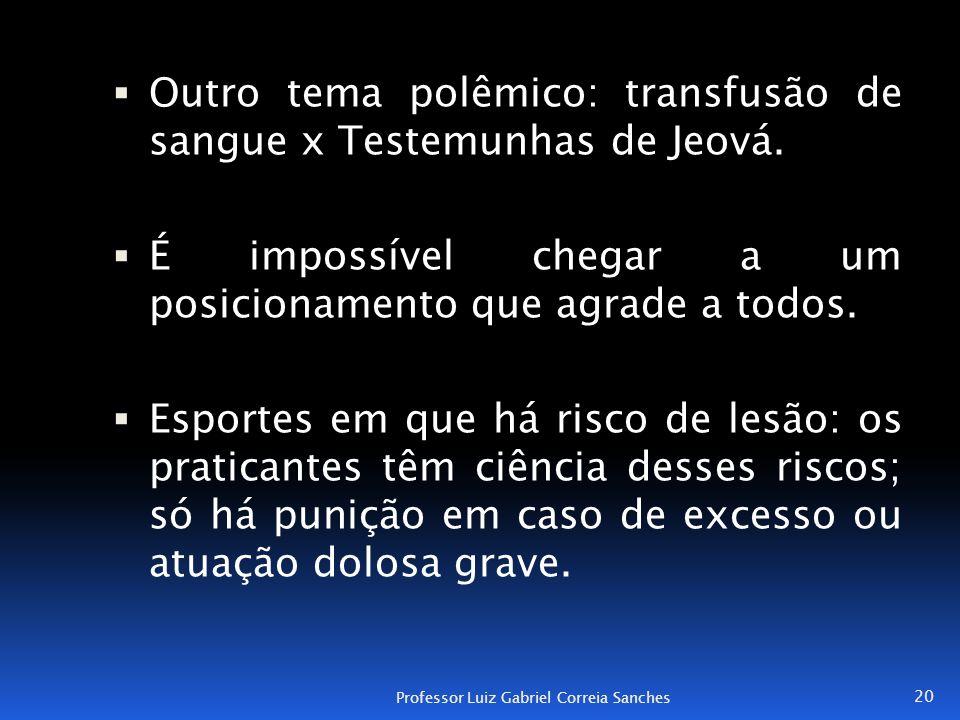 Outro tema polêmico: transfusão de sangue x Testemunhas de Jeová.