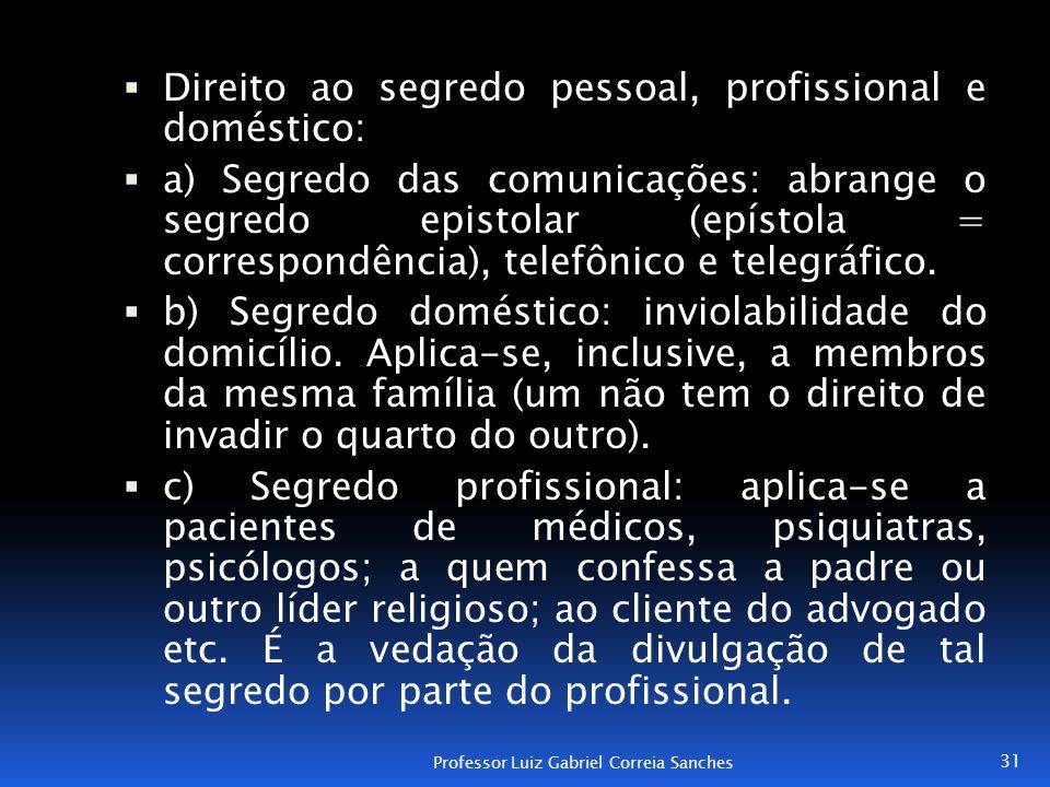 Direito ao segredo pessoal, profissional e doméstico: