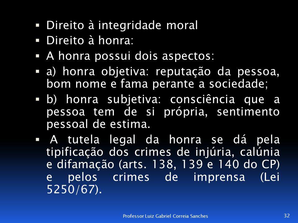 Direito à integridade moral Direito à honra: