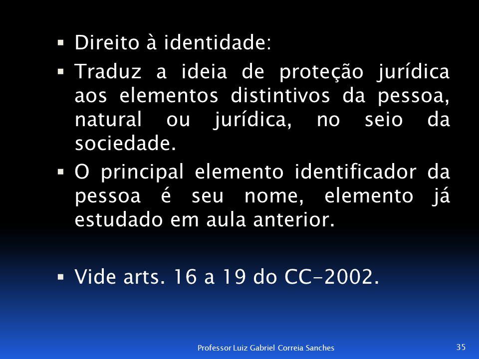 Direito à identidade: Traduz a ideia de proteção jurídica aos elementos distintivos da pessoa, natural ou jurídica, no seio da sociedade.