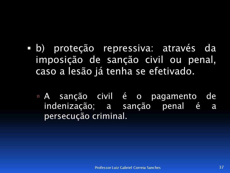 b) proteção repressiva: através da imposição de sanção civil ou penal, caso a lesão já tenha se efetivado.