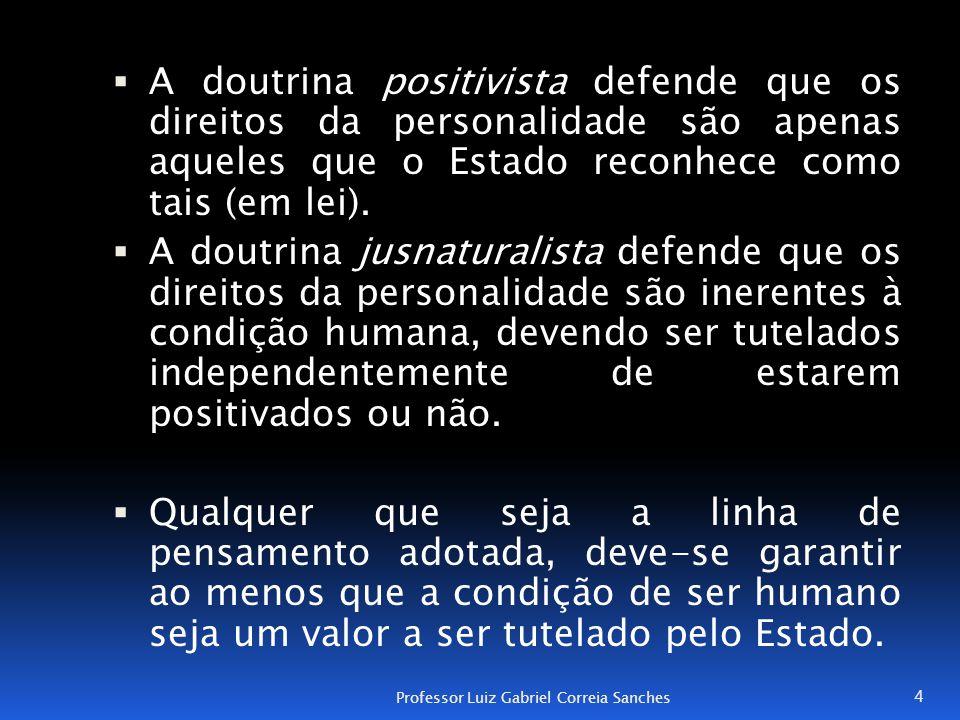 A doutrina positivista defende que os direitos da personalidade são apenas aqueles que o Estado reconhece como tais (em lei).