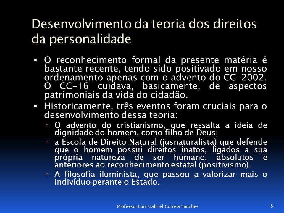 Desenvolvimento da teoria dos direitos da personalidade