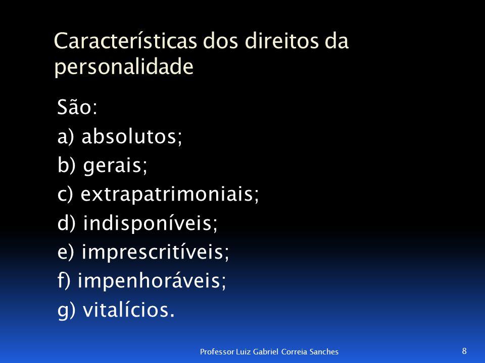 Características dos direitos da personalidade