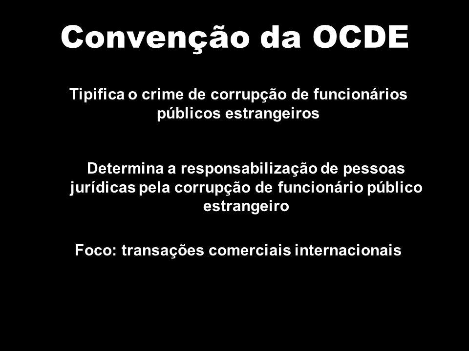 Convenção da OCDE Tipifica o crime de corrupção de funcionários públicos estrangeiros.