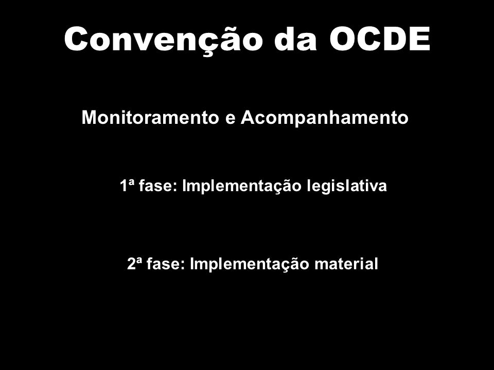 Convenção da OCDE Monitoramento e Acompanhamento