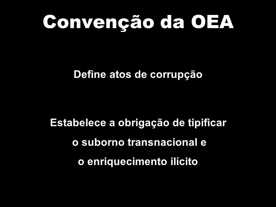 Convenção da OEA Define atos de corrupção