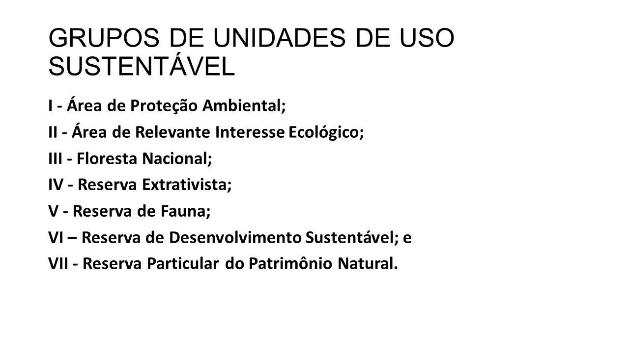 GRUPOS DE UNIDADES DE USO SUSTENTÁVEL
