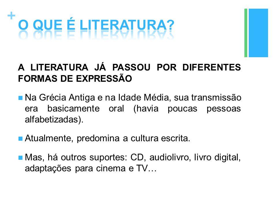 O QUE É LITERATURA A LITERATURA JÁ PASSOU POR DIFERENTES FORMAS DE EXPRESSÃO.