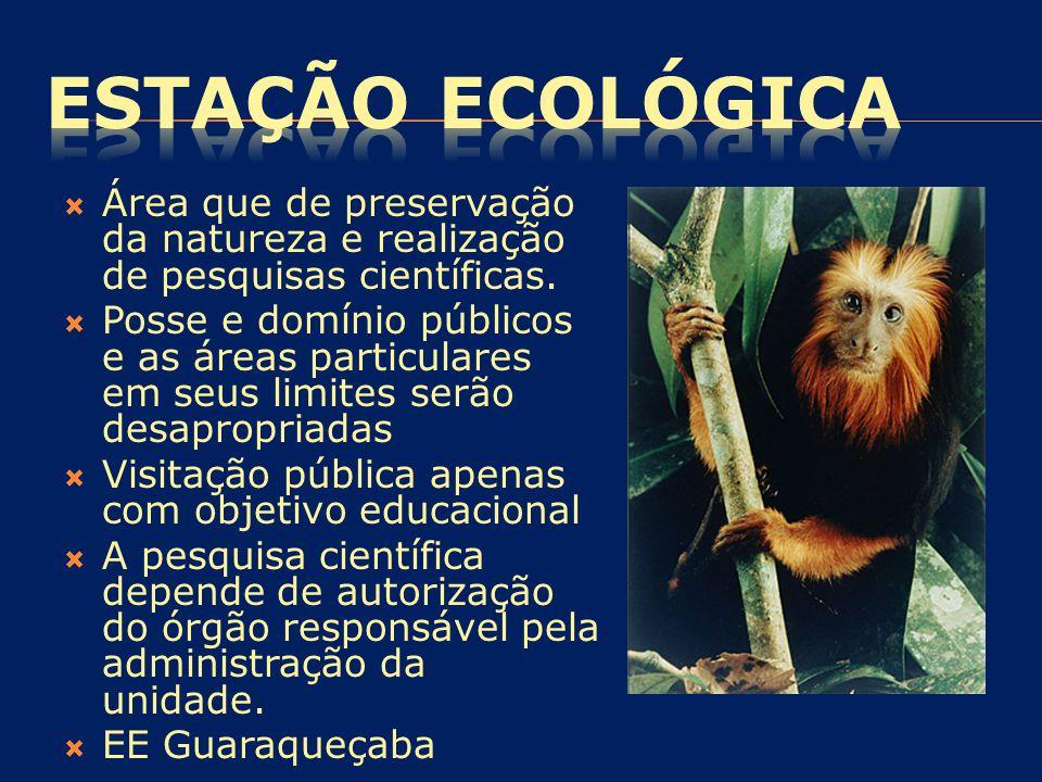 ESTAÇÃO ECOLÓGICA Área que de preservação da natureza e realização de pesquisas científicas.