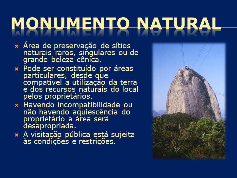 MONUMENTO NATURAL Área de preservação de sítios naturais raros, singulares ou de grande beleza cênica.