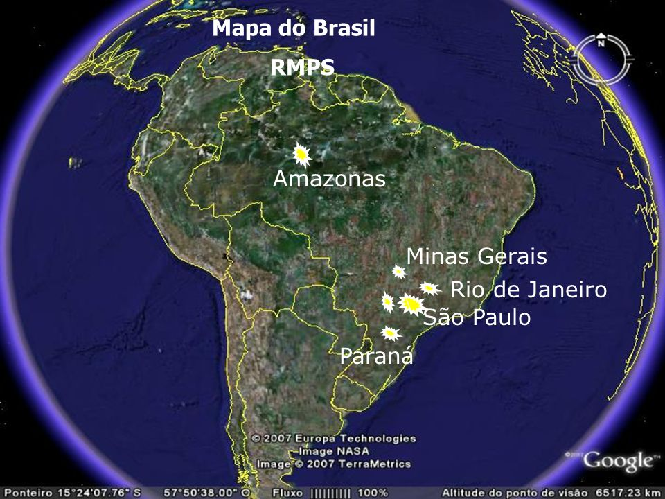 Mapa do Brasil RMPS Amazonas Minas Gerais Rio de Janeiro \ São Paulo