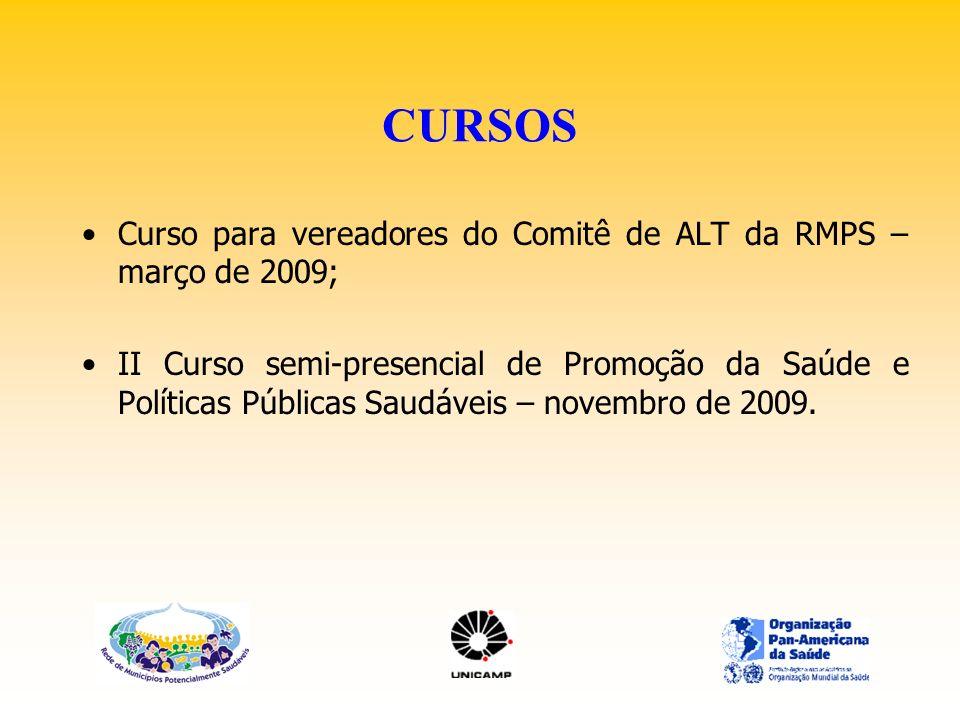 CURSOS Curso para vereadores do Comitê de ALT da RMPS – março de 2009;