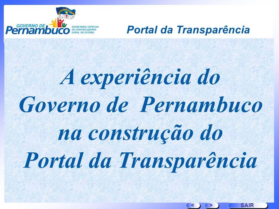 Governo de Pernambuco na construção do Portal da Transparência
