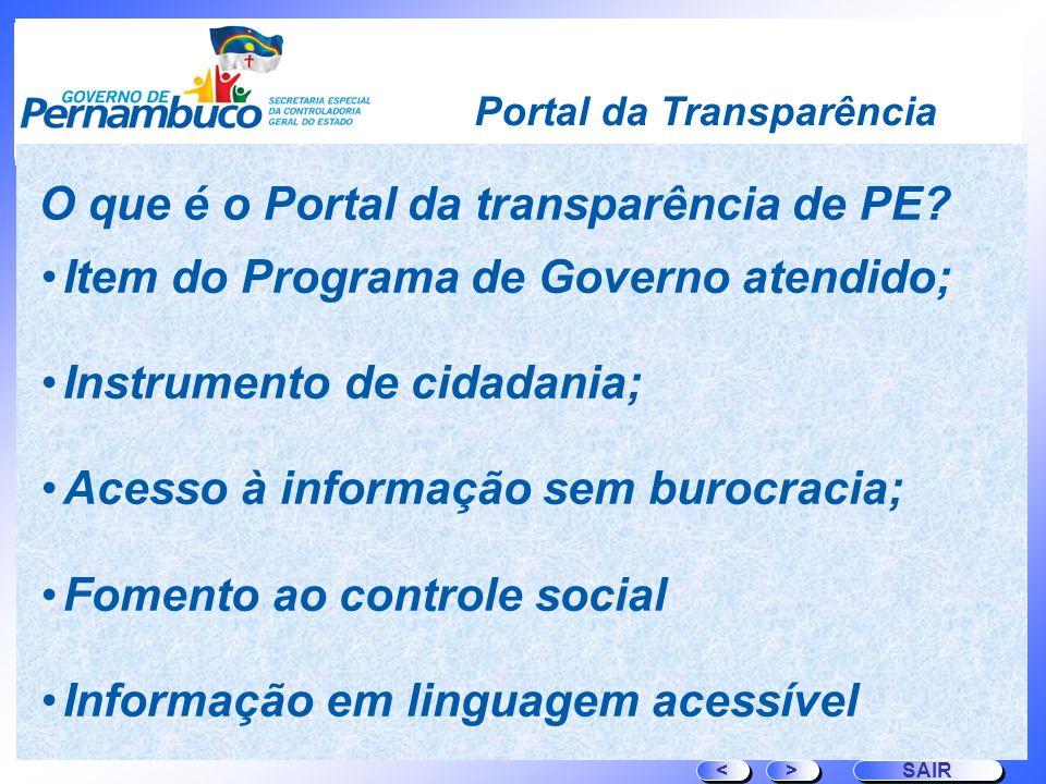 O que é o Portal da transparência de PE