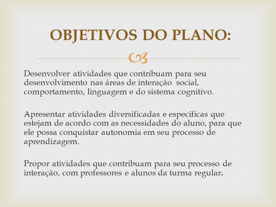 OBJETIVOS DO PLANO: